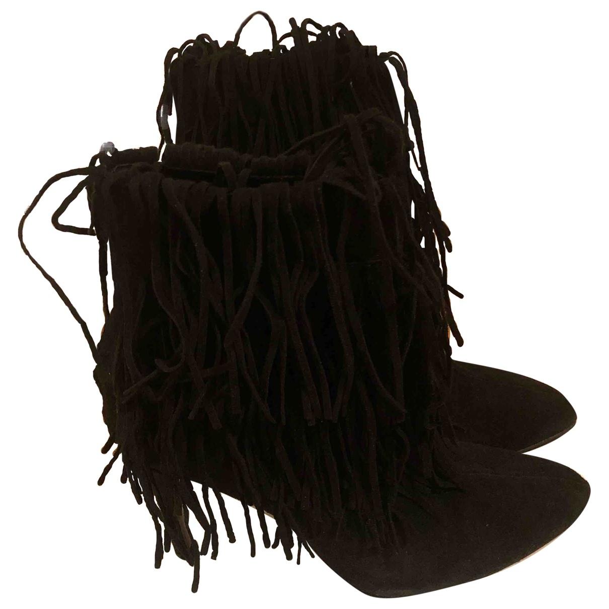 Zara - Bottes   pour femme en suede - noir