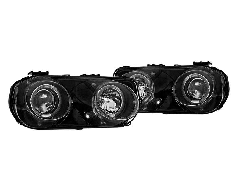 Winjet WJ10-0216-04 Clear Black Halo Projector Head Lights Acura Integra 94-97