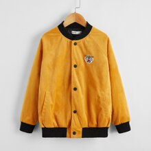 Boys Pocket Front Patched Detail Cord Bomber Jacket