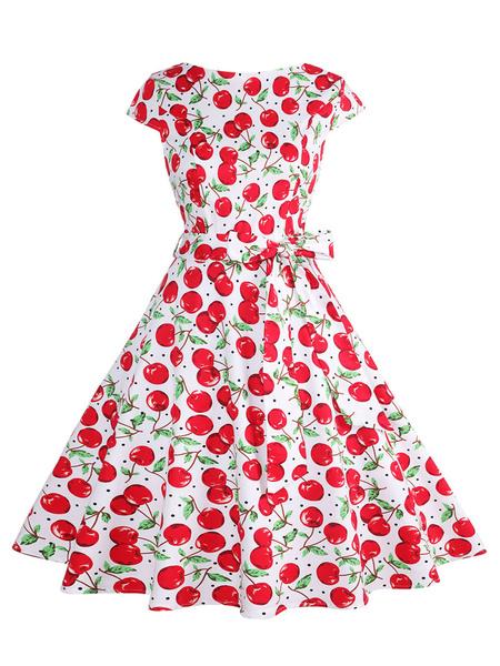 Milanoo 1950s Costume Women Vintage Dress Cherry Print Swing Dress