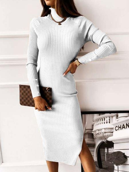 Milanoo Vestidos ajustados para mujer, blanco, cuello alto, sin espalda, sexy, mangas largas, vestido de lapiz acrilico