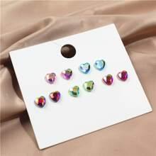 5pairs Rhinestone Heart Stud Earrings