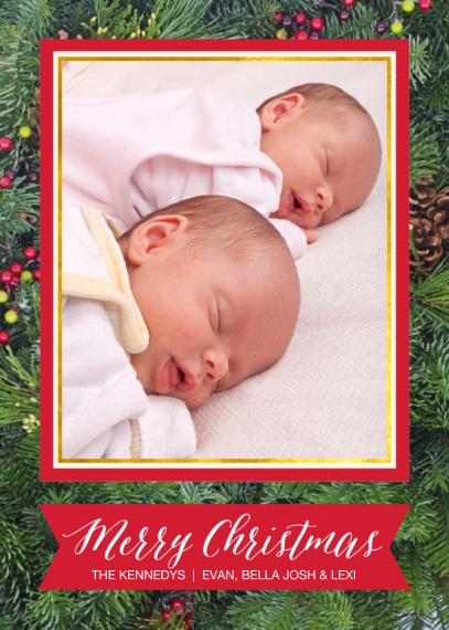 Christmas Photo Cards 5x7 Cards, Premium Cardstock 120lb, Card & Stationery -Christmas Holly by Posh Paper
