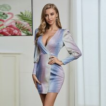 Double Crazy Plunging Neck Glitter Fitted Dress
