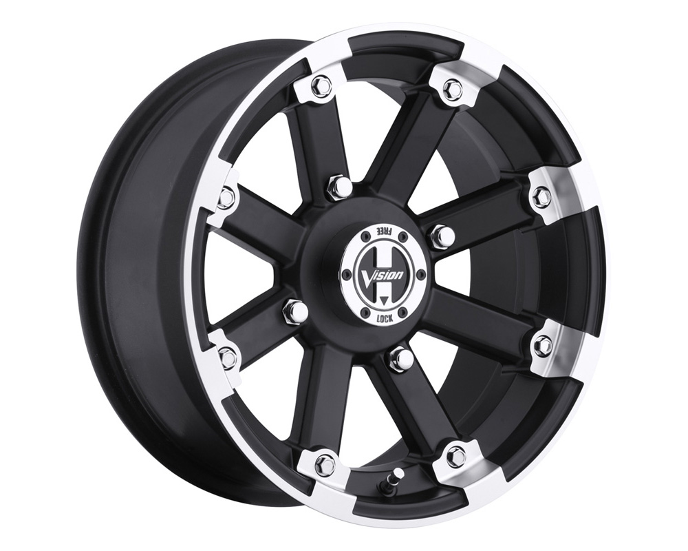 Vision Lockout 393 Matte Black Machined Lip Wheel 12x7 4x156 4+3