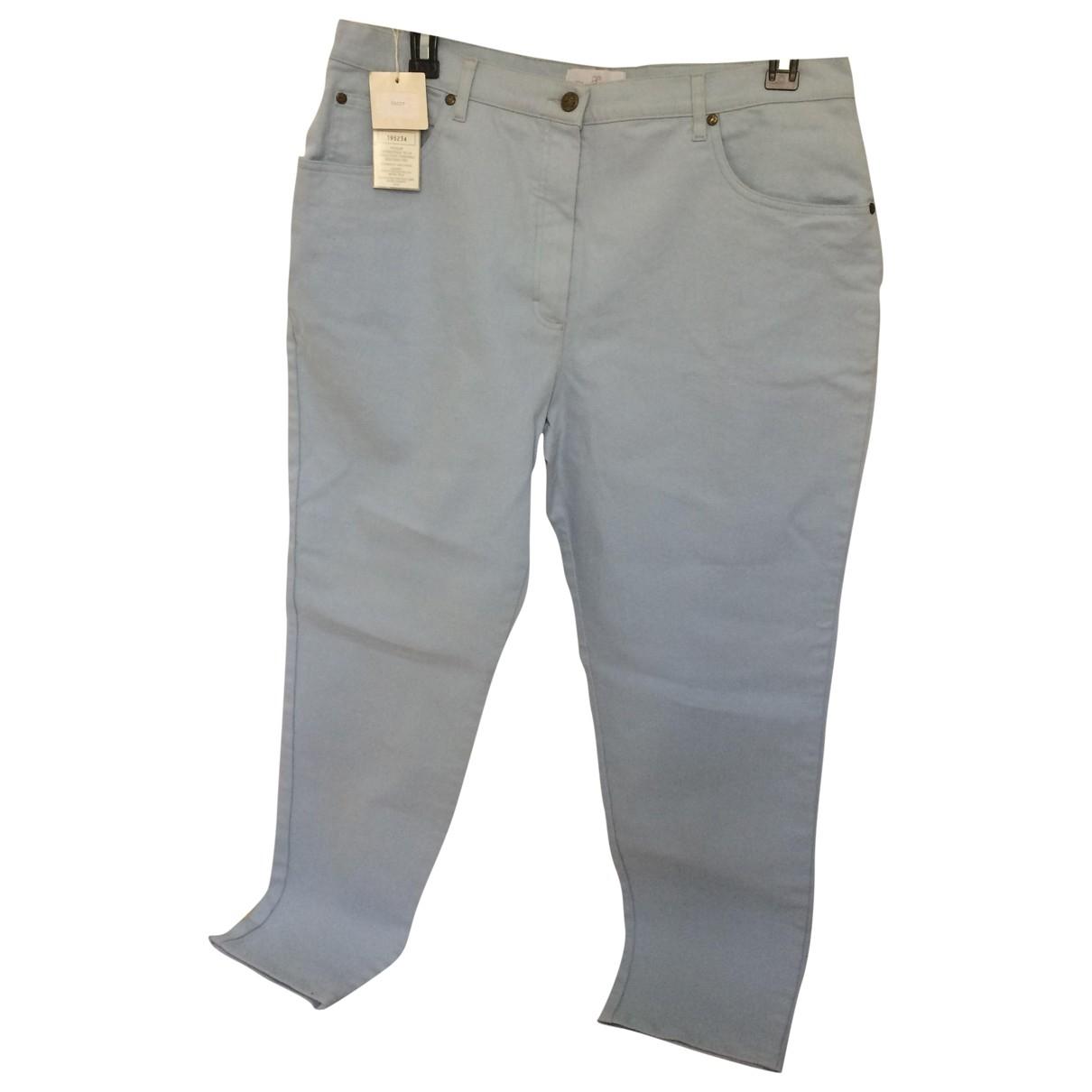 Elegance Paris \N Blue Cotton Trousers for Women 48 FR