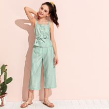 Girls Buttoned Front Self Belted Striped Top & Wide Leg Pants Set