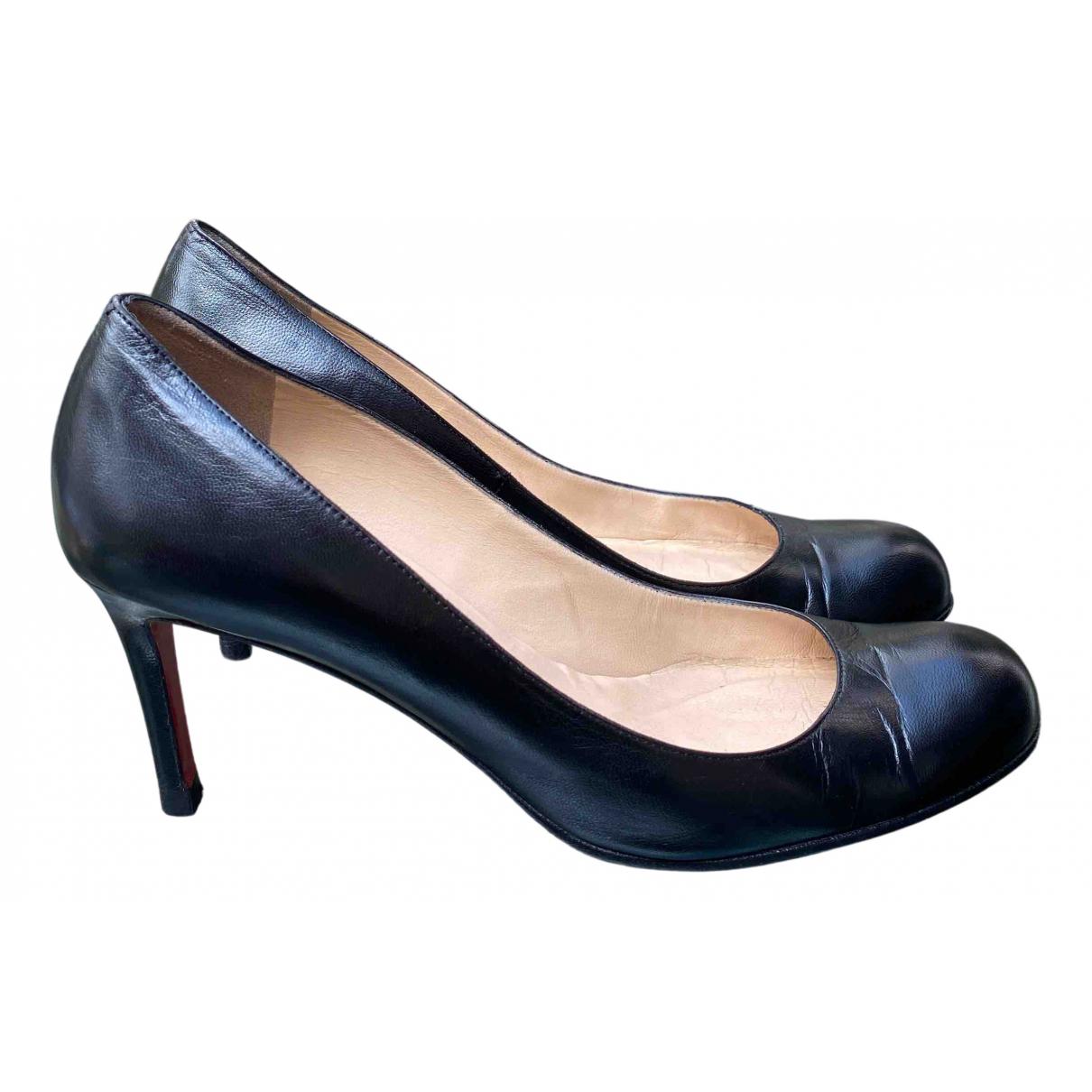 Christian Louboutin Simple pump Black Leather Heels for Women 38 EU