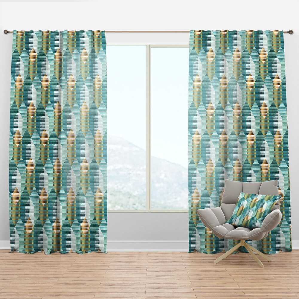 Designart 'Retro Hexagon Pattern IV' Mid-Century Modern Curtain Panel (50 in. wide x 120 in. high - 1 Panel)