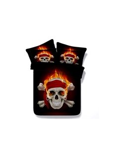 Pirates of the Caribbean Skull Printed Cotton 3D 4-Piece Black Bedding Sets/Duvet Covers
