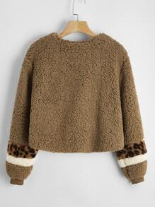 Leopard Panel Colorblock Zipper Placket Teddy Jacket