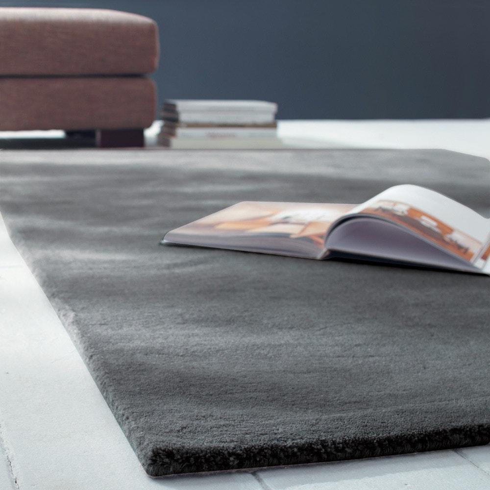 Kurzflorteppich SOFT aus Wolle, 250 x 350cm, anthrazit