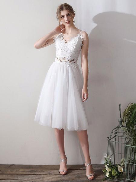 Milanoo Short Wedding Dresses V Neck Sleeveless A Line Natural Tea Length Waist Organza Bridal Dresses