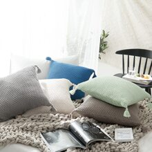 1pc Plain Tassel Cushion Cover
