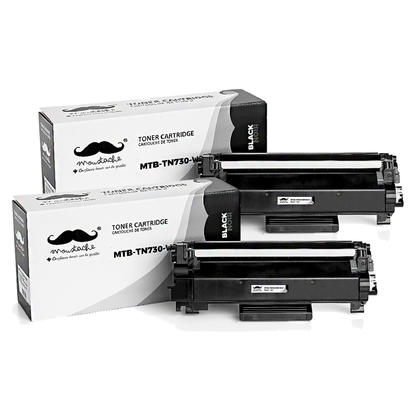 Brother TN730 cartouche de toner compatible noire - avec chip - Moustache® - 2/paquet
