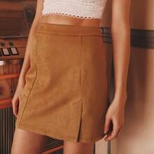 Zip Back Slit Hem Skirt