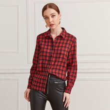 Bluse mit Karo Muster und Knopfen
