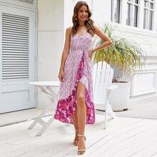 Ditsy Floral Print Ruffle Wrap Hem Cami Dress