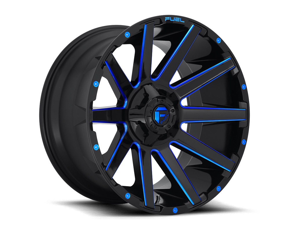 Fuel D644 Contra Gloss Black w/ Candy Blue 1-Piece Cast Wheel 20x9 5x139.7|5x150 20mm