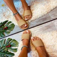 Braided Open Toe Slide Sandals