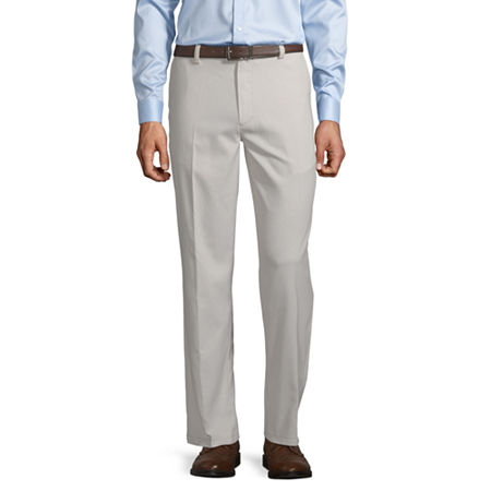 St. John's Bay Easy Care Men's Stretch Classic Fit Flat Front Pant, 40 30, White