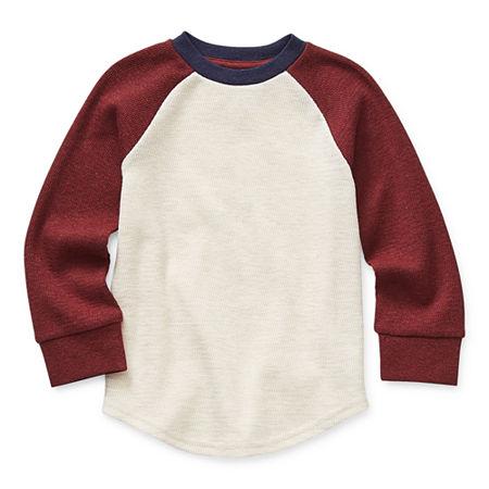 Okie Dokie Toddler Boys Long Sleeve Thermal, 3t , Beige