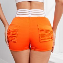Striped Panel Ruched Sports Shorts