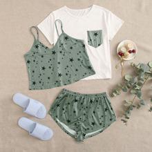 3Pcs Star Print Shorts Pajama Set