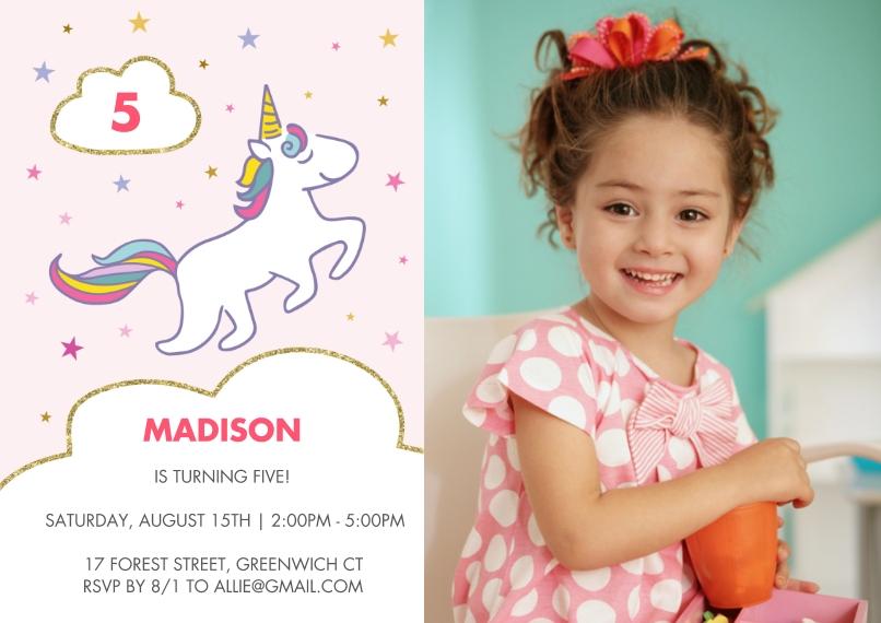 Kids Birthday Party 5x7 Cards, Premium Cardstock 120lb with Elegant Corners, Card & Stationery -Birthday Invite Rainbow Unicorn Stars