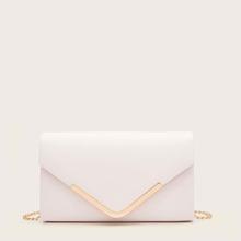 Metal Decor Flap Clutch Bag