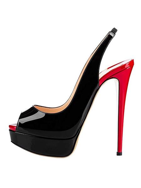 Milanoo Black Platform Heels Peep Toe Slingbacks Sexy Shoes Women High Heels