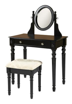 58010BLK-01-KD-U Lorraine Collection Vanity Set with Traditional Style  Medium-Density Fiberboard (MDF) and Polyester Upholstery in Black