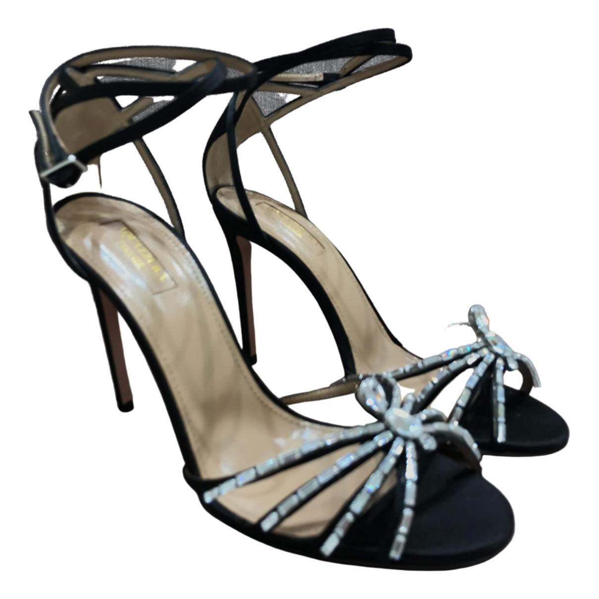 Aquazzura - Sandales   pour femme en toile - noir