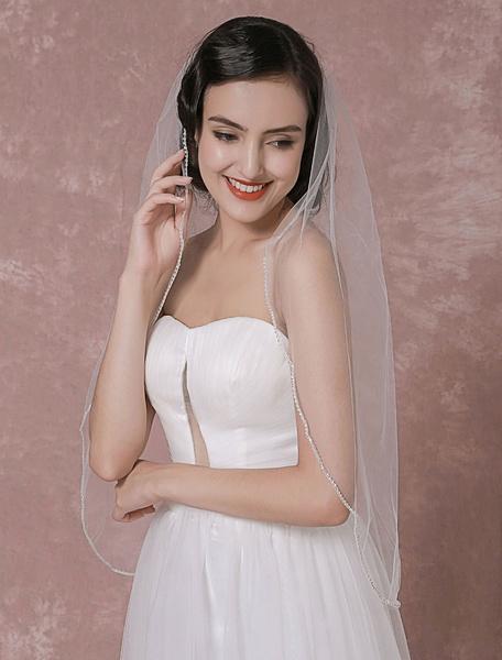Milanoo Tulle Wedding Veil 1 Tier Beaded Edge Bridal Veil