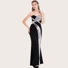 Angel-Fashions vestido de fiesta con lentejuelas con encaje de dos colores