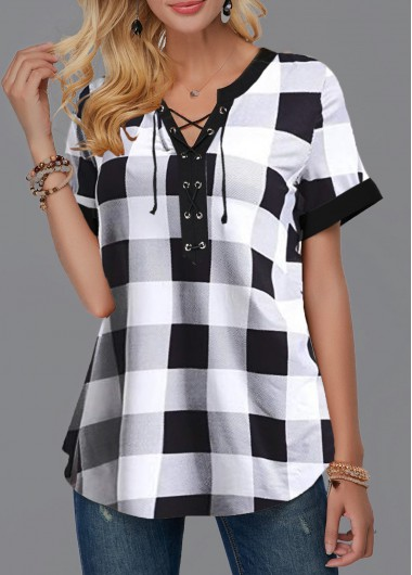 Women'S White Plaid Printed Short Sleeve Tunic Blouse Black And White Lace Up Front Split Neck Casual Top By Rosewe - XL