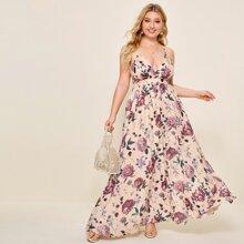 Cami Kleid mit tiefem Kragen, Kreuzgurt, offener Rueckseite und Blumen Muster