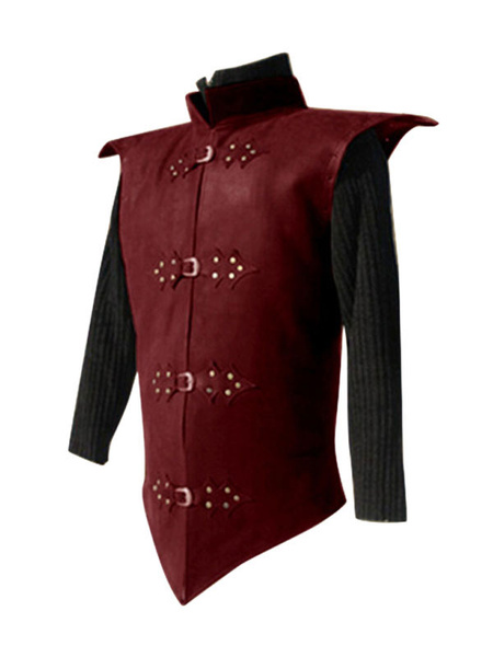 Milanoo Disfraz Halloween Traje negro vintage Edad media Detalles de metal Revit trajes retro para hombre Carnaval Halloween