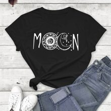 Letter And Graphic Round Neck Tee