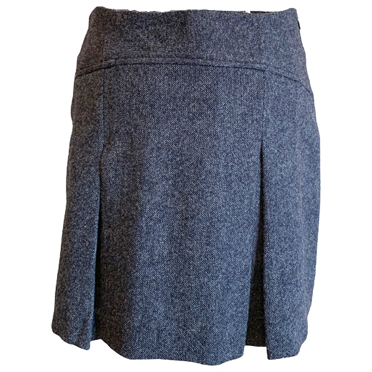 Non Signé / Unsigned N Blue Wool skirt for Women S International