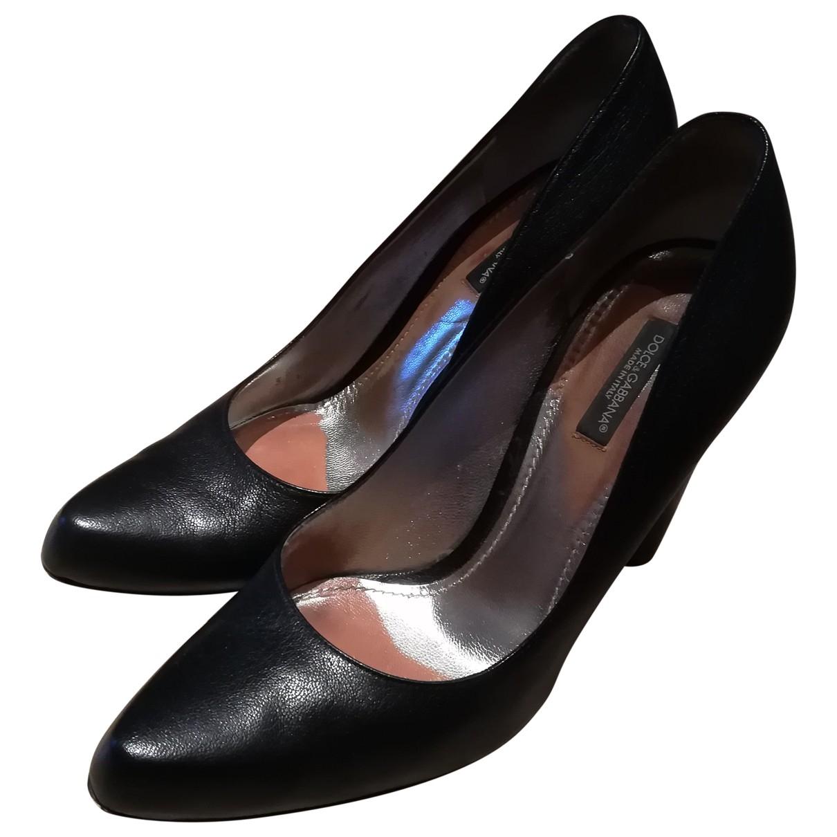 Dolce & Gabbana \N Black Leather Heels for Women 39.5 EU