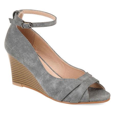 Journee Collection Womens Palmer Pumps Buckle Peep Toe Wedge Heel, 8 1/2 Medium, Gray