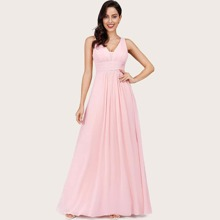 V Back Ruched Empire Waist Maxi Prom Dress
