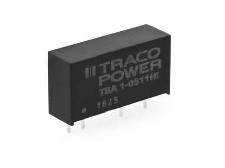 TRACOPOWER TBA 1HI 1W Isolated DC-DC Converter Through Hole, Voltage in 10.8 → 13.2 V dc, Voltage out ±5V dc