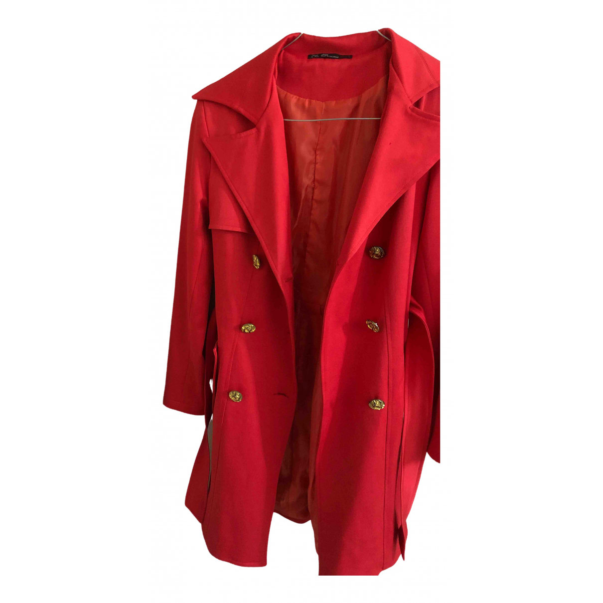 Non Signe / Unsigned \N Trench in  Rot Polyester