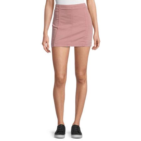 Rewind Womens Denim Skirt-Juniors, 13 , Red