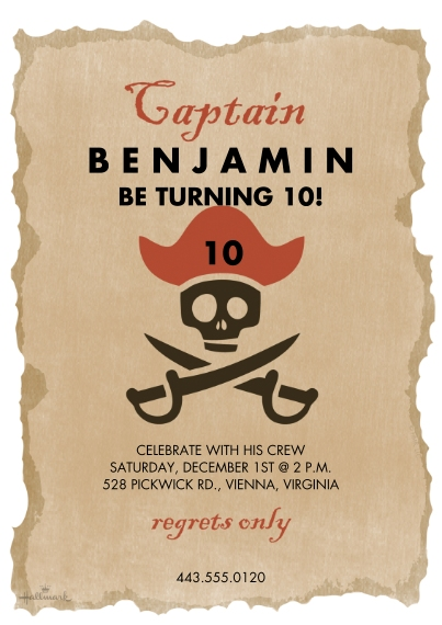 Kids Birthday Party Invites Flat Matte Photo Paper Cards with Envelopes, 5x7, Card & Stationery -Pirate Captain