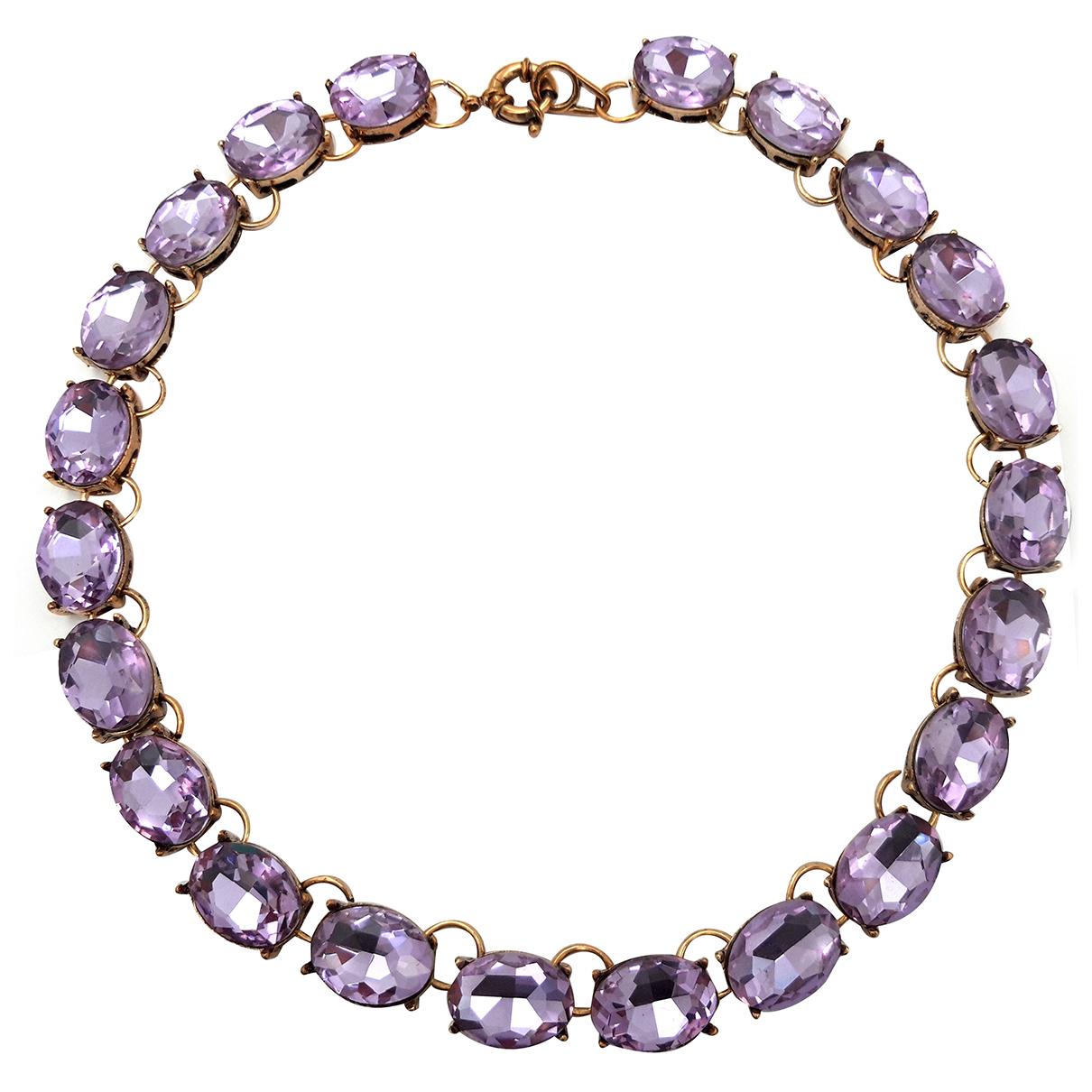 - Collier Art Deco pour femme en cristal - rose
