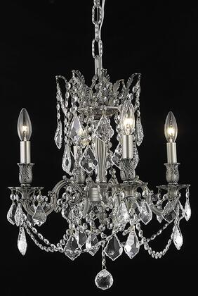 9204D17PW/RC 9204 Rosalia Collection Hanging Fixture D17in H21in Lt: 4 Pewter Finish (Royal Cut