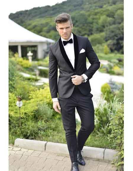 Velvet Lapel Fine Wool Suit/Tuxedo Shawl Collar Or Notch Lapel Black